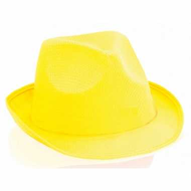 Carnavalskleding geel trilby hoedje volwassenen arnhem
