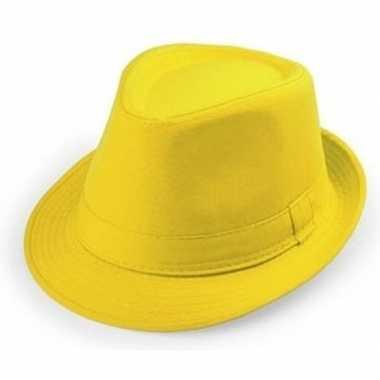 Carnavalskleding geel trilby verkleed hoedje volwassenen arnhem