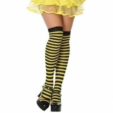 Carnavalskleding geel/zwarte gestreepte verkleed kousen dames arnhem