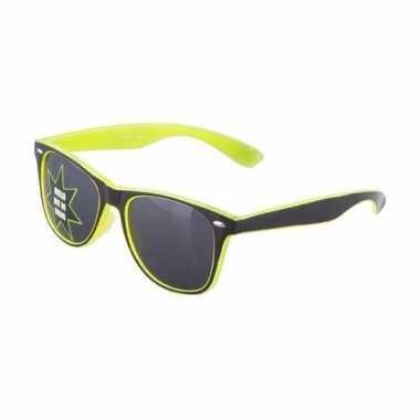 Carnavalskleding gele glow the dark zonnebril arnhem