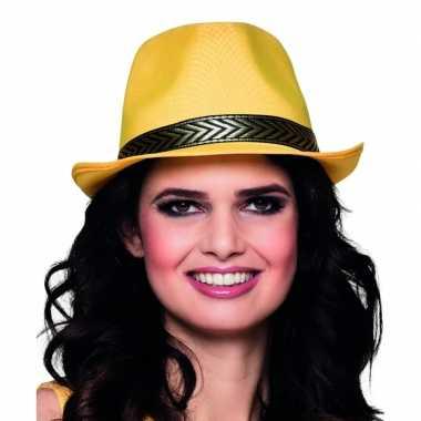 Carnavalskleding gele trilby hoed volwassenen arnhem
