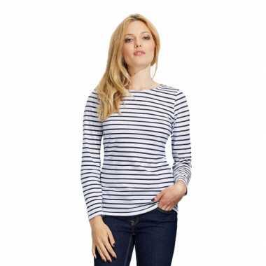 Carnavalskleding gestreept dames t-shirt wit blauw arnhem