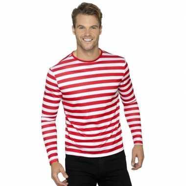 Carnavalskleding gestreept shirt wit/rood volwassenen arnhem