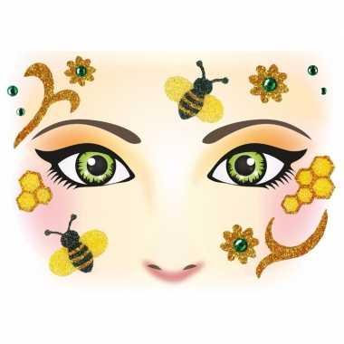 Carnavalskleding gezicht stickers bijen vel arnhem