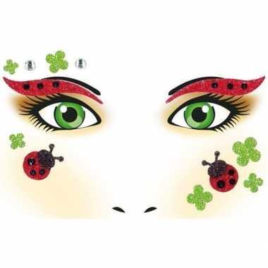 Carnavalskleding gezicht stickers lieveheersbeestje vel arnhem