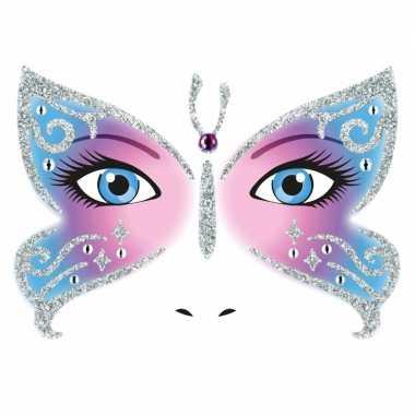 Carnavalskleding gezicht stickers vlinder vel arnhem