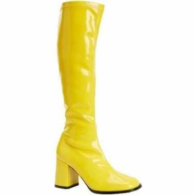 Carnavalskleding glimmende gele laarzen dames arnhem