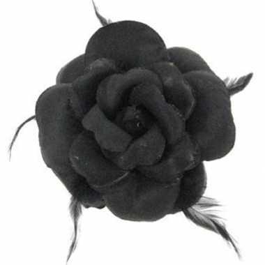 Carnavalskleding  Glitter bloem zwart speld Arnhem