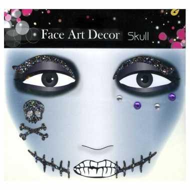 Carnavalskleding glitter schmink sticker skull arnhem