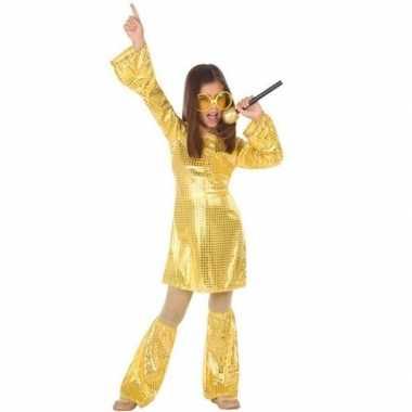 Carnavalskleding gouden glitter disco jurk meisjes arnhem