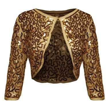 Carnavalskleding gouden glitter pailletten disco bolero jasje dames a