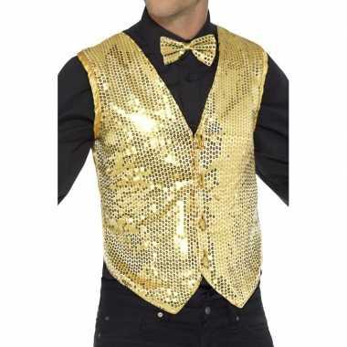 Carnavalskleding gouden heren gilet pailletten arnhem