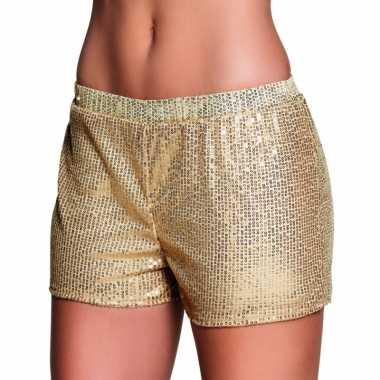 Carnavalskleding gouden hotpants pailletten arnhem