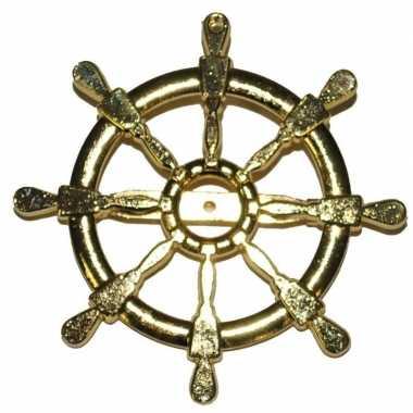 Carnavalskleding gouden matroos/zeeman verkleed broche scheepsroer ar