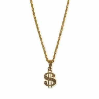 Carnavalskleding gouden rapper amerikaanse dollar ketting arnhem