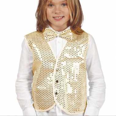 Carnavalskleding gouden verkleed gilet pailletten kinderen arnhem