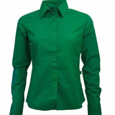 Carnavalskleding groen dames overhemd lange mouwen arnhem