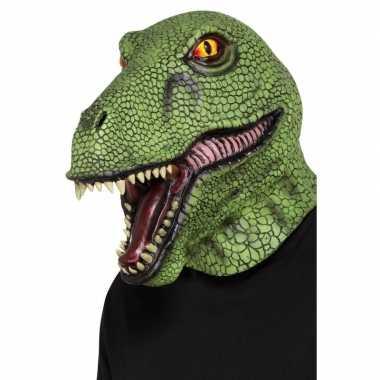 Carnavalskleding groen dinosaurus masker volwassenen arnhem