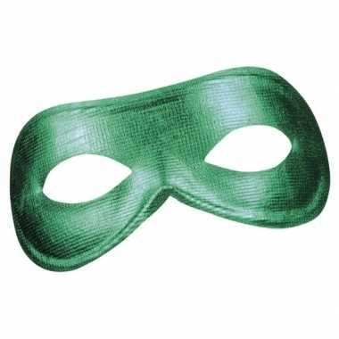 Carnavalskleding groen metallic oogmasker dames arnhem