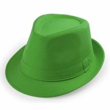 Carnavalskleding groen trilby verkleed hoedje volwassenen arnhem