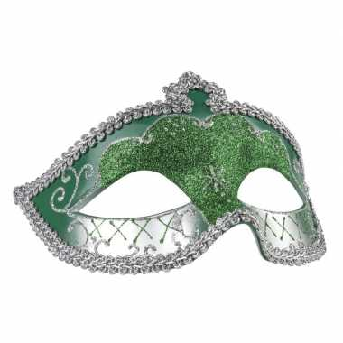 Carnavalskleding groen/zilver oogmasker glitters dames arnhem