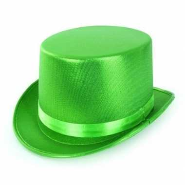 Carnavalskleding groene hoge hoed metallic volwassenen arnhem