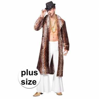 Carnavalskleding grote maat bruine pimp/pooier verkleed jas heren arn
