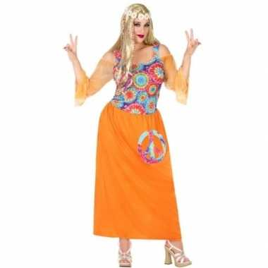 Carnavalskleding grote maat oranje hippie/flower power verkleed jurk
