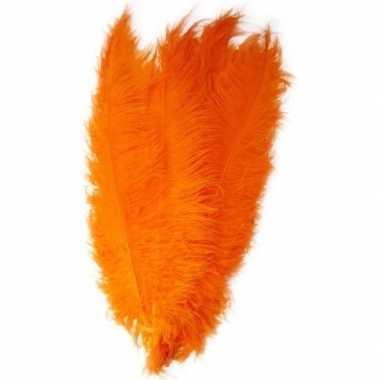 Carnavalskleding grote veer/struisvogelveer oranje verkleed accessoir