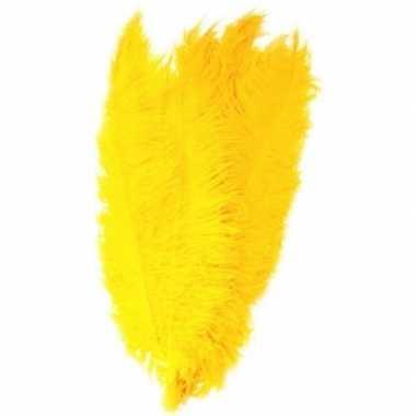 Carnavalskleding grote veer/struisvogelveren geel verkleed accessoire
