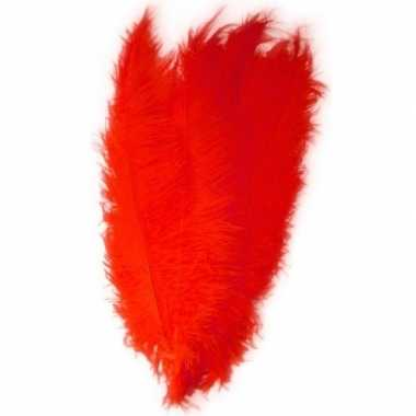 Carnavalskleding grote veer/struisvogelveren rood verkleed accessoire
