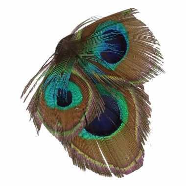 Carnavalskleding haarbloem pauwveertjes groen/blauw arnhem