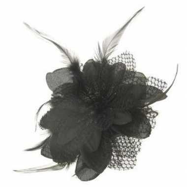 Carnavalskleding haarbloem zwart veertjes arnhem