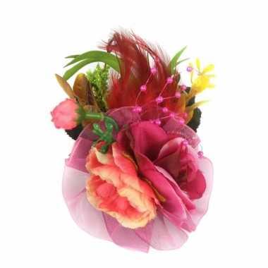 Carnavalskleding haarbloemen fuchsia roze klem arnhem