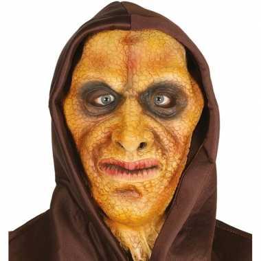 Carnavalskleding hagedis man horror masker latex capuchon arnhem