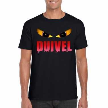 Carnavalskleding halloween duivel ogen t shirt zwart heren arnhem