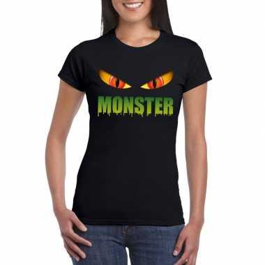 Carnavalskleding halloween monster ogen t shirt zwart dames arnhem