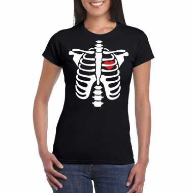 Carnavalskleding halloween skelet t shirt zwart dames arnhem
