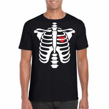 Carnavalskleding halloween skelet t shirt zwart heren arnhem