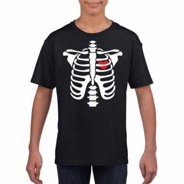 Carnavalskleding halloween skelet t shirt zwart kinderen arnhem