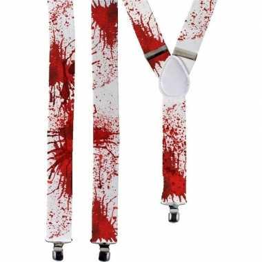 Carnavalskleding halloween witte bretels bloedvlekken volwassenen arn