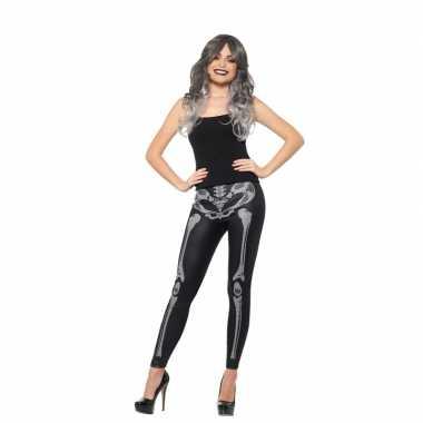 Carnavalskleding halloween zwarte legging skelet opdruk dames arnhem