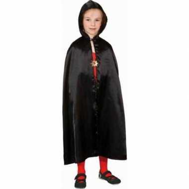 Carnavalskleding halloween zwarte satijnen cape kinderen arnhem
