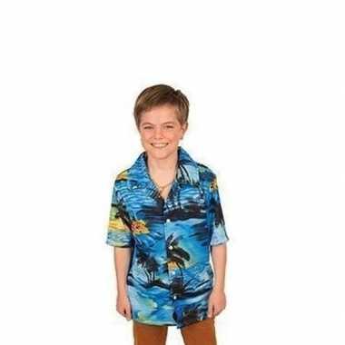 Carnavalskleding hawaii blouse/overhemd blauw jongens arnhem