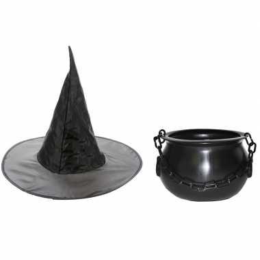 Carnavalskleding heksen accessoires set hoed ketel meisjes arnhem