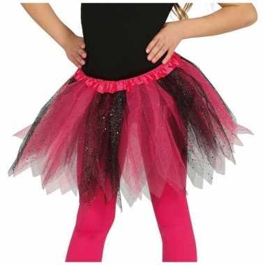 Carnavalskleding heksen verkleed petticoat/tutu roze/zwart glitters m