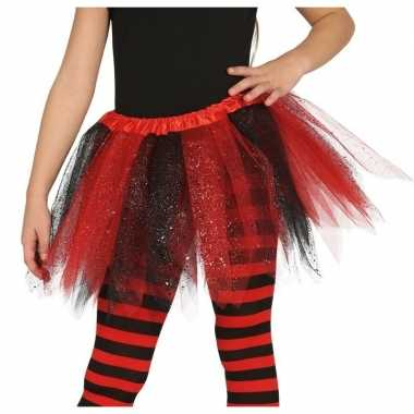 Carnavalskleding heksen verkleed petticoat/tutu zwart/rood glitters m