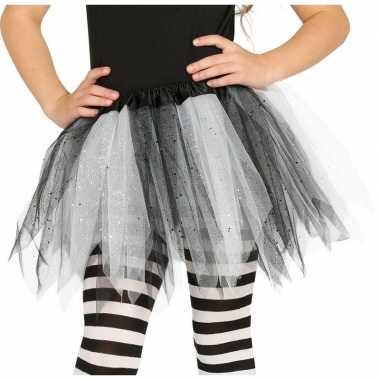 Carnavalskleding heksen verkleed petticoat/tutu zwart/wit glitters me