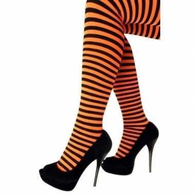 Carnavalskleding heksen verkleedaccessoires panty maillot zwart/oranj