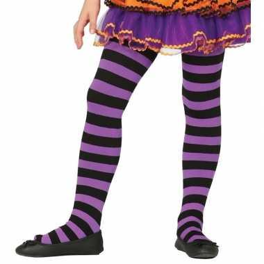 Carnavalskleding heksen verkleedaccessoires panty maillot zwart/paars